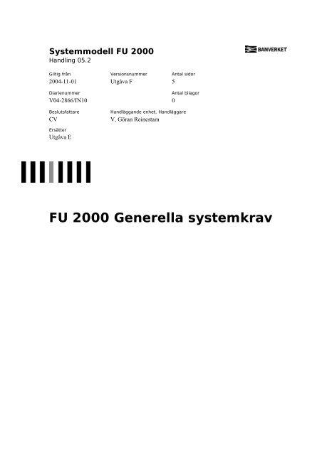 FU 2000 Generella systemkrav - Banportalen