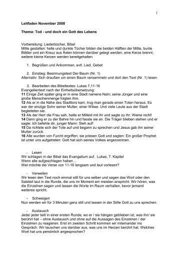 1 Leitfaden November 2008 Thema: Tod - und doch ein Gott des ...