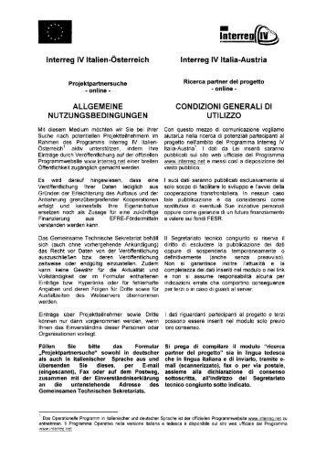 Ricerca partner dal Veneto - Interreg IV Italia – Austria
