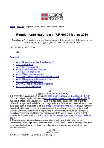 Regolamento regionale n. 7/R del 01 Marzo 2010 - Portale ...