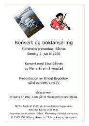 Plakat om arrangement - Bindal kommune
