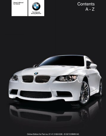 2011 M3 Owner's Manual with iDrive - Irvine BMW
