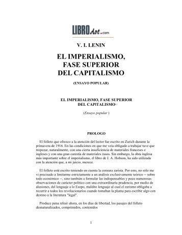 Vladimir Ilich Lenin - El Imperialismo, Fase Superior Del Capitalismo
