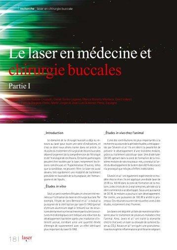 Le laser en médecine et chirurgie buccales