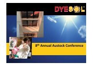 8th Annual Austock Conference Presentation - Dyesol