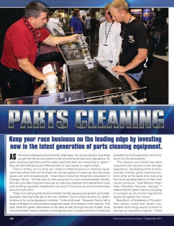2011: Parts Cleaning - SmartWasher in the Racing ... - ChemFree