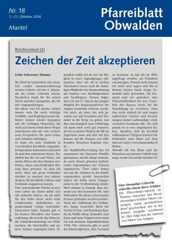 Pfarreiblatt 18 – Zeichen der Zeit akzeptieren - Kirche Obwalden