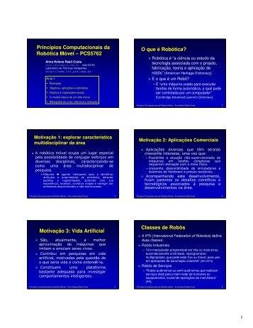 Princípios Computacionais da Robótica Móvel - Laboratório de ...