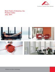 Roto Frank of America, Inc. Product Index July, 2011