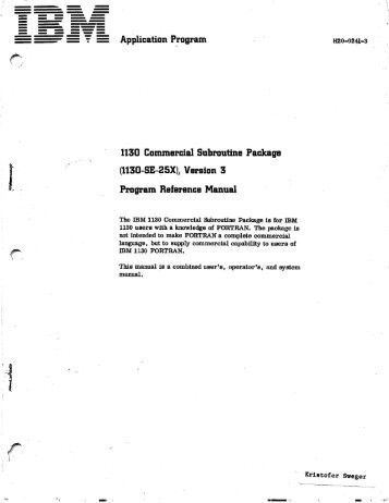 1130 Commercial Subroutine Package - All about the IBM 1130 ...