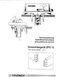 HEGNER ZFG Fingerjoint Machine Manual