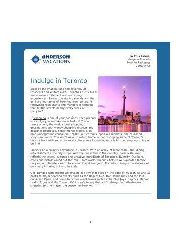Toronto - Anderson Vacations