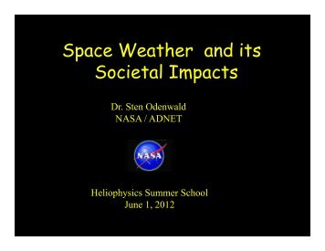 Space Weather and its Societal Impacts - VSP   UCAR Visiting ...