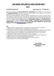 WEST BENGAL STATE HEALTH & FAMILY WELFARE SAMITI Notice