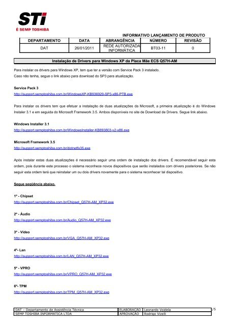 BAIXAR 1462 DRIVERS PARA NOTEBOOK SEMP TOSHIBA IS