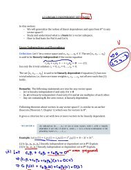 4.3 LINEARLY INDEPENDENT SETS; BASES In this section: - We ...