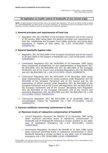 EU legislation on health control of foodstuffs of ... - Export Helpdesk