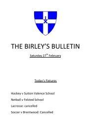 THE BIRLEY'S BULLETIN