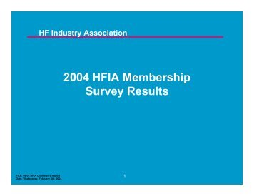 2004 HFIA Membership Survey Results
