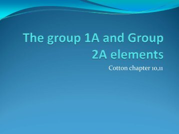 The group 1A and Group 2A elements