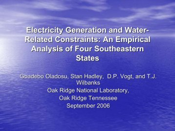 Electricity Generation and Water- Related Constraints: An Empirical ...