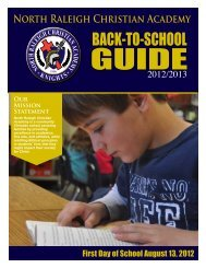 Back to School Guide - North Raleigh Christian Academy