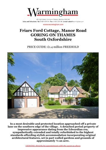 Friars Ford Cottage, Manor Road GORING ON ... - Warmingham