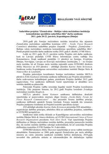 Ziemeļvalstu – Baltijas valstu mežzinātnes institūciju ... - Silava