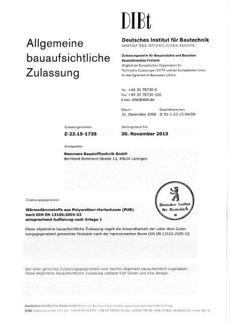 Dibt Allgemeine Bauaufsichtliche Zulassung Remmers