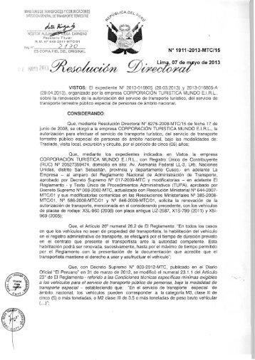 N° 1911-2013-MTC/15 Lim , 07 de o de 2013 - Ministerio de ...