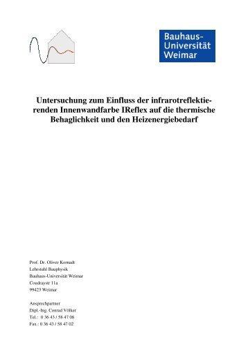Untersuchung zum Einfluss der infrarotreflektie- renden - Remmers
