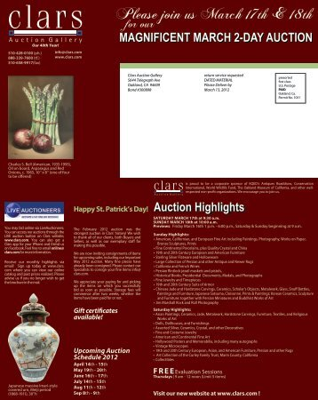 Please join us March 17th & 18th - Clars Auction Gallery