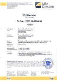 Prüfbericht zum Brandverhalten nach DIN EN ISO 11925 - Remmers
