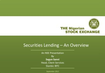Securities Lending – An Overview - The Nigerian Stock Exchange