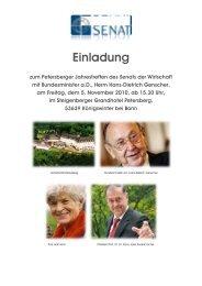 Einladung zum Petersberger Jahrestreffen des Senats der Wirtschaft ...