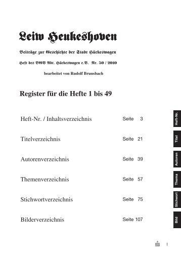 Register Hefte 1-49 - Bergischer Geschichtsverein Abteilung ...