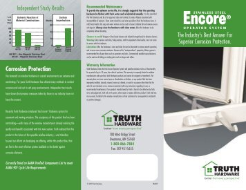 Encore Stainless Steel Operators - Truth Hardware