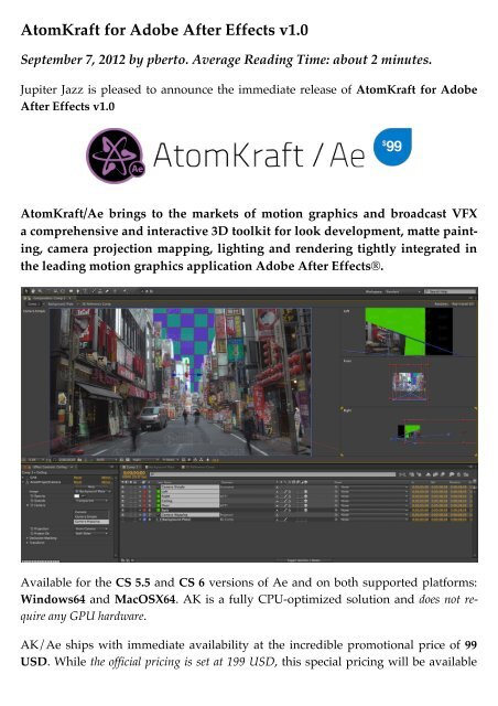 jupiter jazz*/ – AtomKraft for Adobe After Effects v1 0