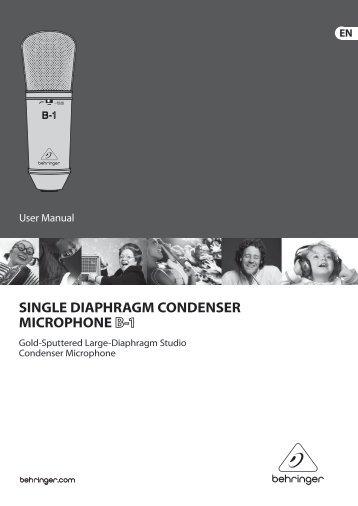 SINGLE DIAPHRAGM CONDENSER MICROPHONE - Behringer