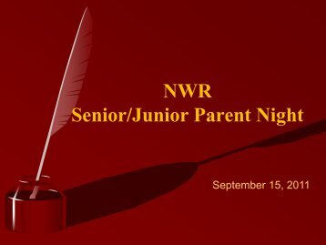Senior Parent Night: - North Warren Regional School District