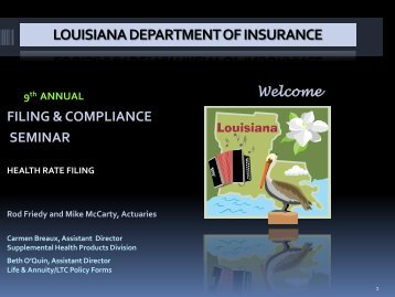 Health Rate Filing - Louisiana Department of Insurance
