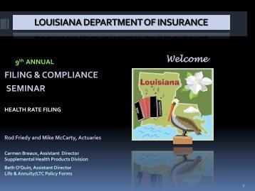 Health Rate Filing - Louisiana Department of Insurance