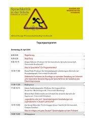 Tagungsprogramm - Akademie der Wissenschaften in Hamburg