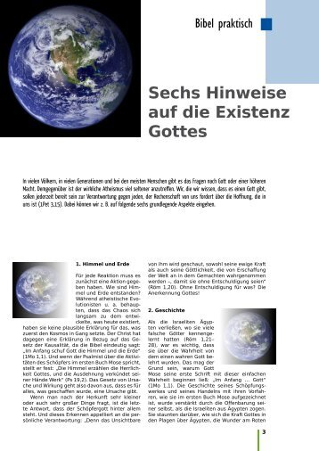Sechs Hinweise auf die Existenz Gottes