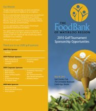2010 Golf Tournament Sponsorship Opportunities - Food Bank of ...