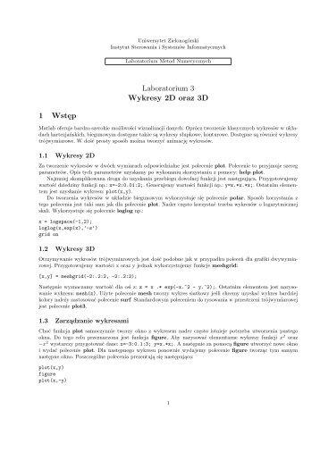 Metody numeryczne Lab 2A - Instytut Sterowania i Systemów ...