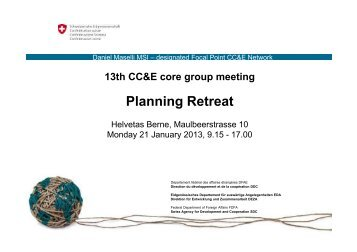 Planning Retreat - SDC Climate Change and Environment Network