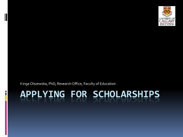 APPLYING FOR SCHOLARSHIPS - Faculty of Education