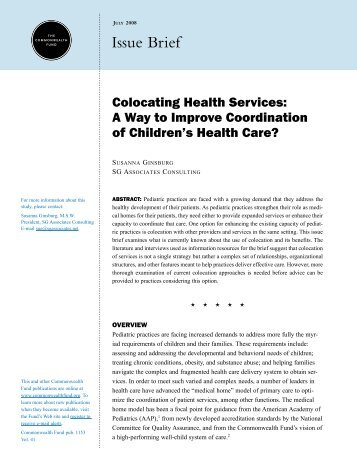 Colocating Health Services - The Commonwealth Fund
