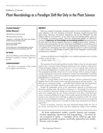 Plant Neurobiology as a Paradigm Shift Not Only in the Plant ... - LINV